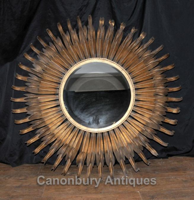 English Art Nouveau Star Burst Gilt Mirror Antique Mirrors Glass