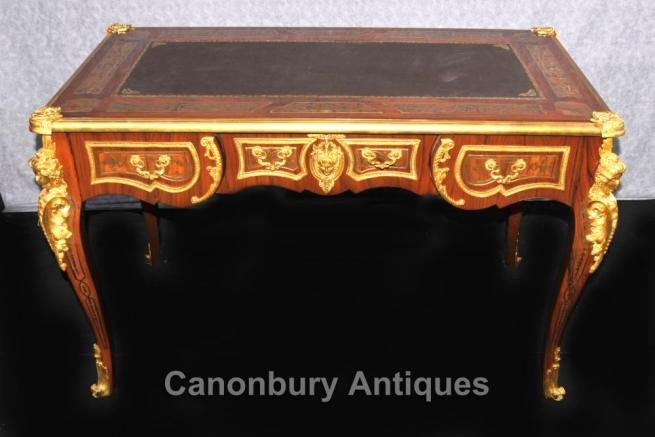 French Boulle Writing Desk Table Bureau Plat Ormolu Kingwood