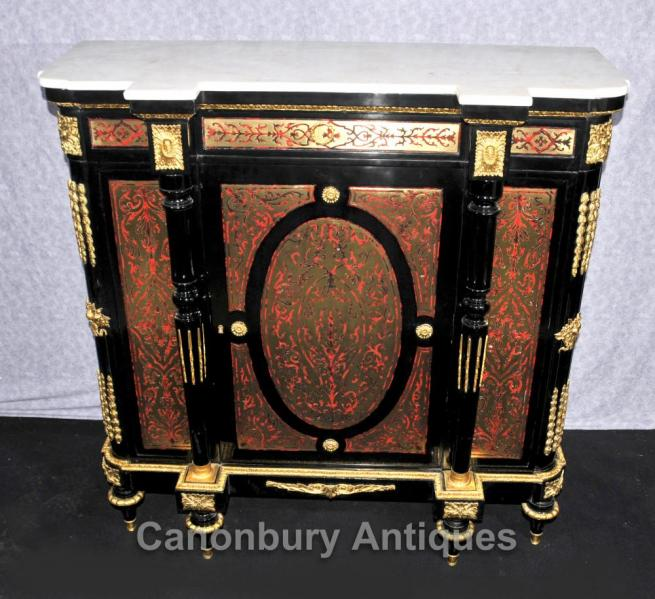 French Louis XVI Boulle Cabinet Credenza Sideboard Buhl Inlay