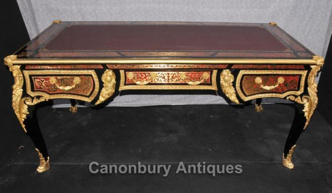 Large Boulle Louis XVI Desk Writing Table Bureau Plat Marquetry Inlay