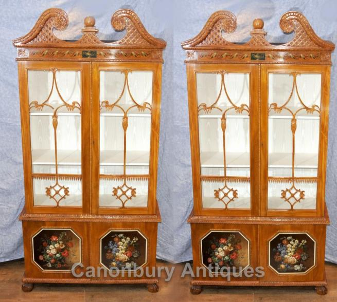 Pair Antique Chippendale Glass Fronted Display Cabinets Bookcases Satinwood