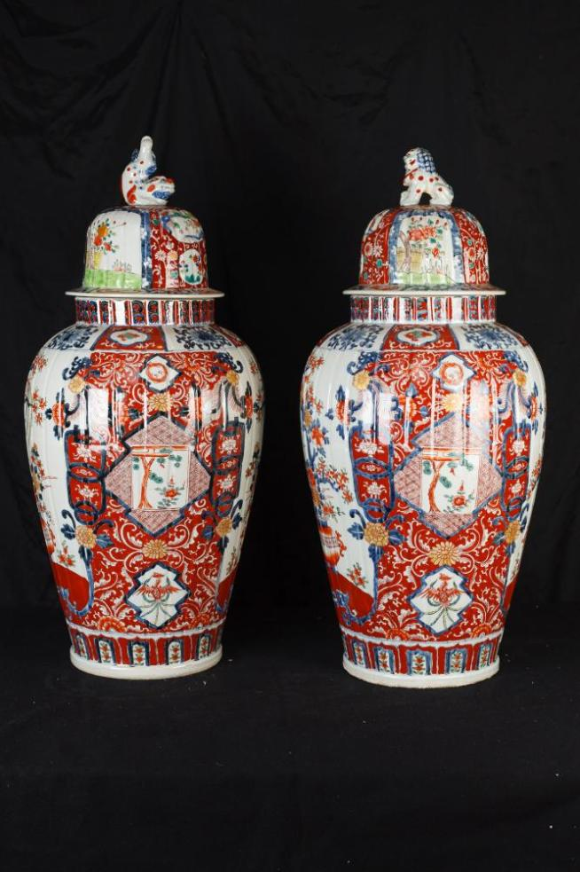 Pair Big Japanese Imari Porcelain Vases Urns Temple Ginger Jars