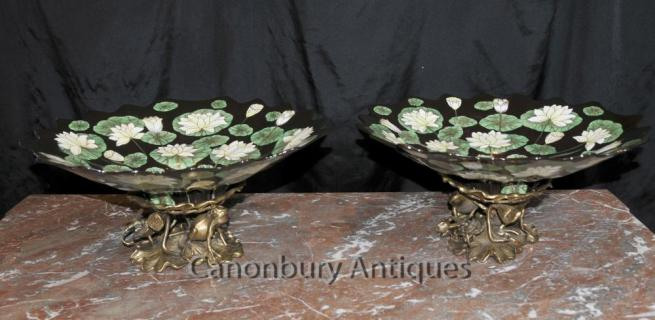 Pair French Art Nouveau Plates Comports Ormolu Frog Base