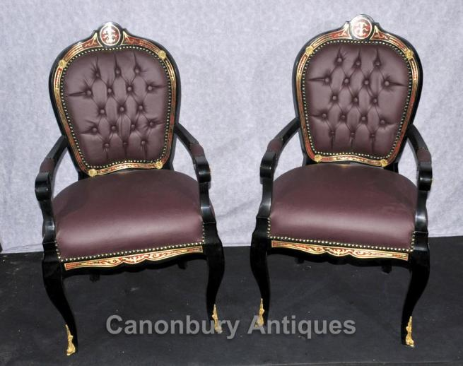 Pair French Boulle Arm Chairs Louis XV Fauteil Chair