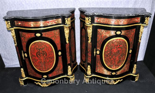 Pair French Boulle Cabinets Chests Louis XVI Inlay Furniture