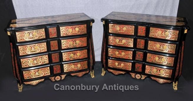Pair French Boulle Inlay Bombe Commodes Chests Drawers