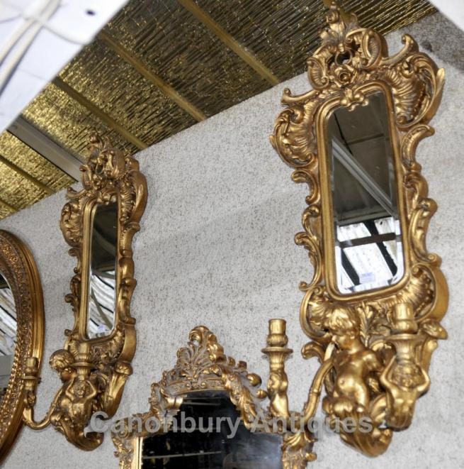 Pair French Cherub Gilt Girandole Mirrors Louis XVI Sconces Candelabras