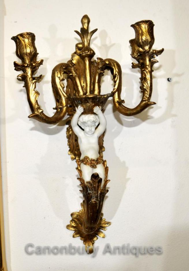 Pair Gilt Alabaster Italian Cherub Wall Sconces Candelabras