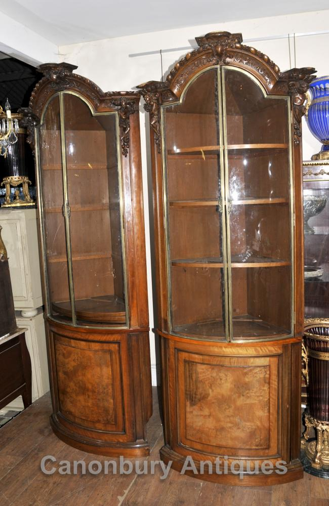 Pair Large Antique Scottish Walnut Corner Cabinets Bookcases Specimen Stately Home