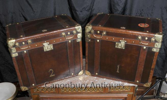 Pair Leather Steamer Trunk Luggage Cases Boxes Side Tables