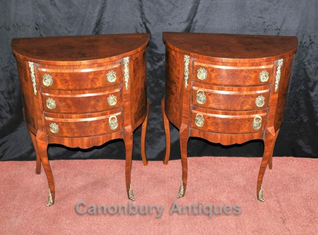 Pair Walnut Victorian Nightstands Bedside Chests Cabinets