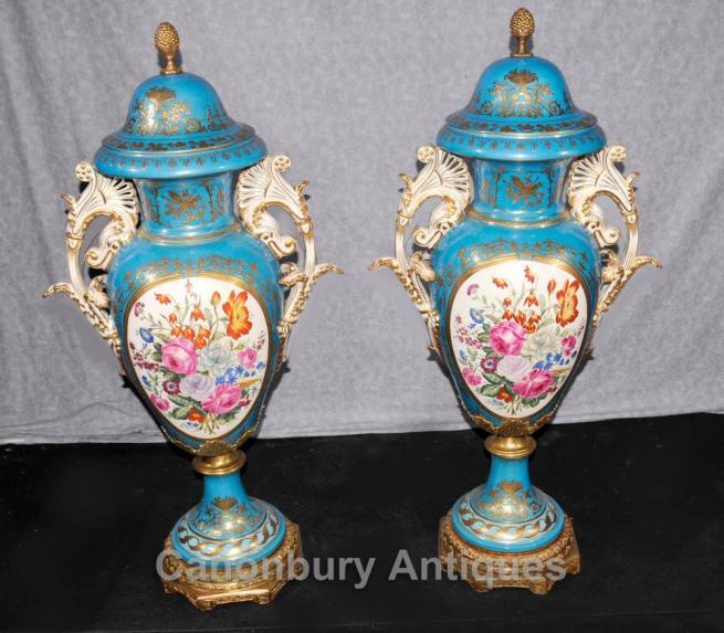 Pair XL Dresden Porcelain Floral Urns Vases Cyan Blue