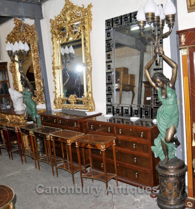 Pair XL French Bronze Art Nouveau Torcheres Candelabras Female Figurines