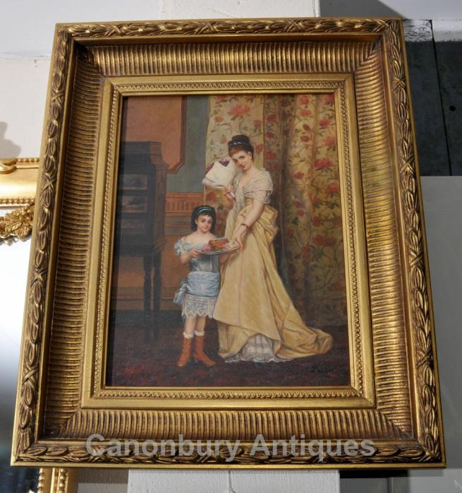 Victorian Mother and Child Oil Painting Gilt Frame English Art Signed