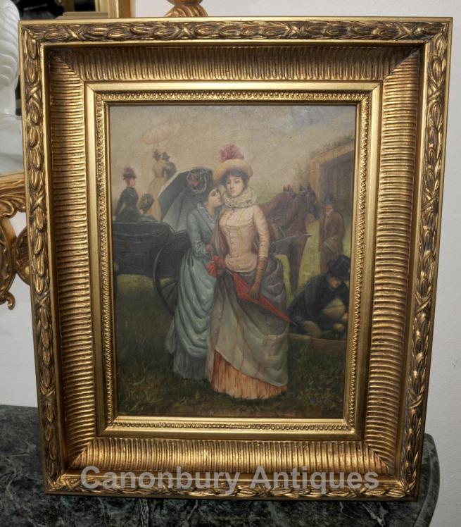 Victorian Oil Painting Ladies at the Races Portrait Gilt Frame