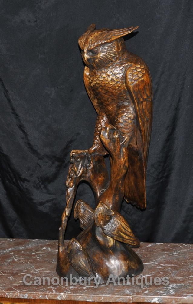 3 ft Hand Carved Hawk Owl Black Forest Statue Birds Prey Eagle