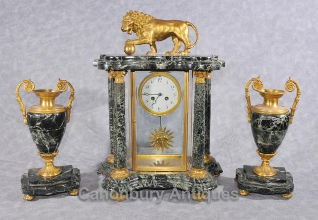 Antique French Napoleon III Clock Garniture Urn Set Mantle Clocks