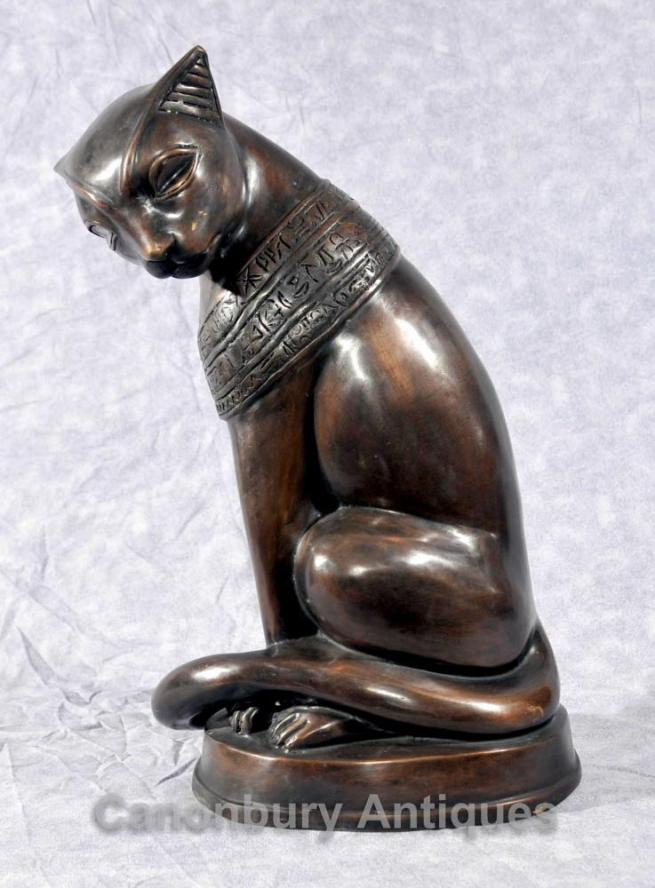 Bronze Egyptian Cat Statue Feline Felus Casting Egypt Cats