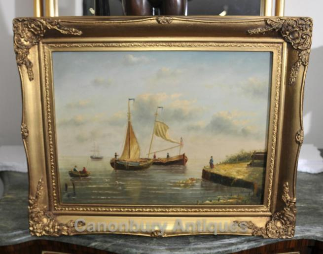 Dutch Oil Painting Fishing Sea Scape Sail Boats Maritime Art