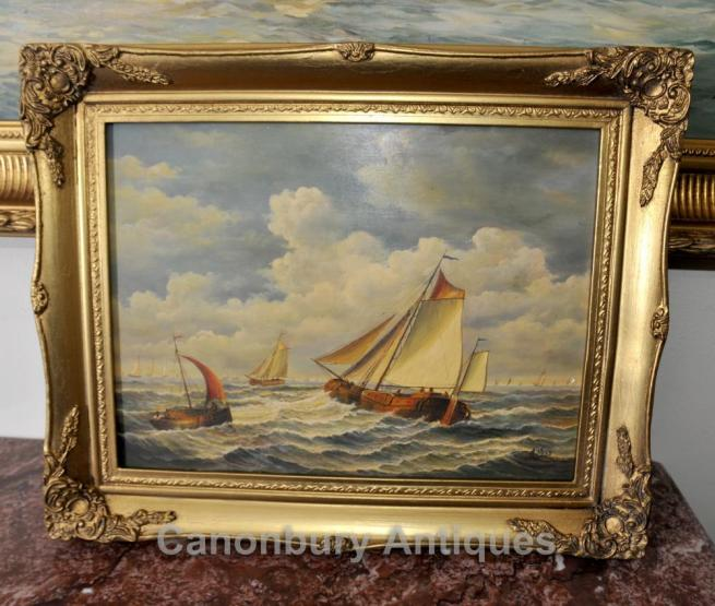 Dutch Oil Painting Sea Scape Sailing Boat Maritime Art Signed A Hess