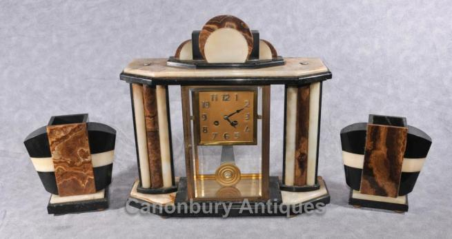 French Antique Art Deco Clock Set Garniture Marble Mantle 1920s Clocks