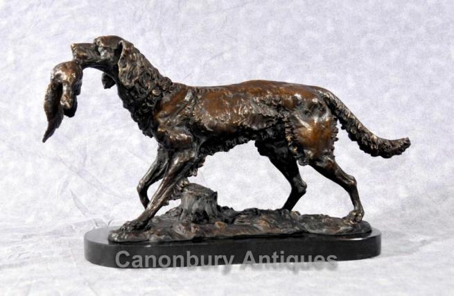 French Bronze Moigniez Hunter Dog Statue Bloodhound Pheasant Hunting Dogs