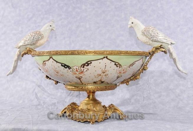 French Bronze Parrot Ormolu Bowl Comport Tureen Dish Bird Bath