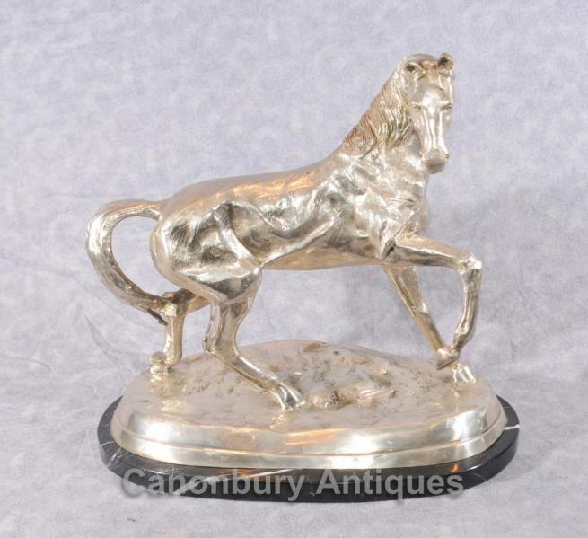 French Bronze Silver Plated Horse Statue by Mene