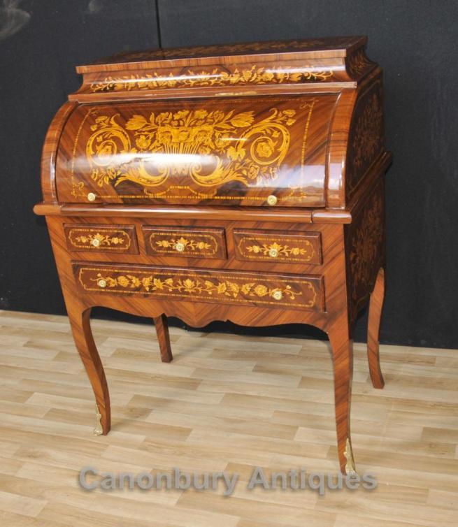 French Louis XV Roll Top Desk Bureau Writing Table Inlay Furniture