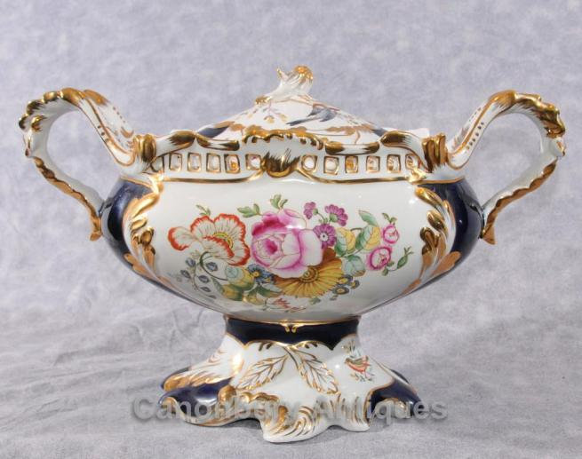 French Sevres Porcelain Tureen Dish Comport Floral Spray