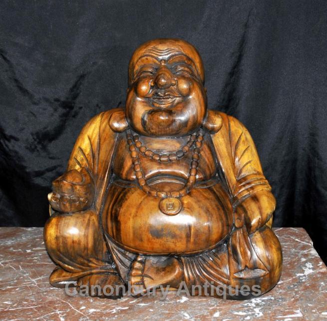 Hand Carved Happy Buddha Statue Figurine Buddhist Art Buddhism