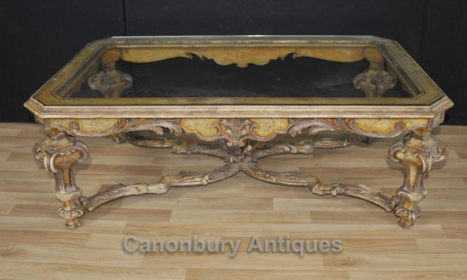 Italian Painted Baroque Coffee Table With Glass Top Tables