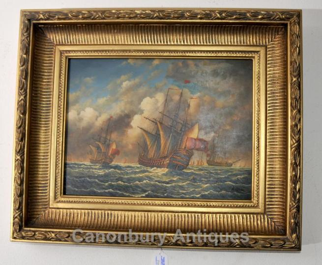 Oil Painting Spanish Galleon Sail Boat Maritime Sea Scape