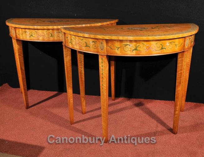 Pair Adams Console Tables Regency Demi Lune Painted Satinwood Furniture