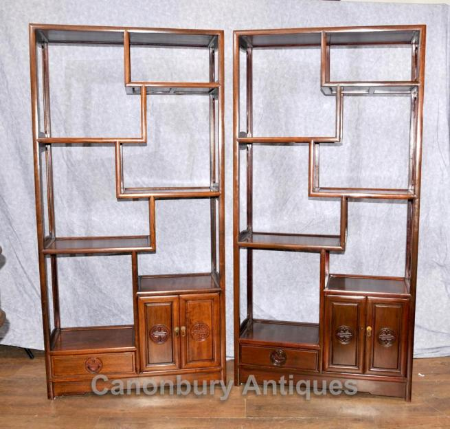 Pair Antique Chinese Mahogany Bookcases Shelf Units Circa 1920