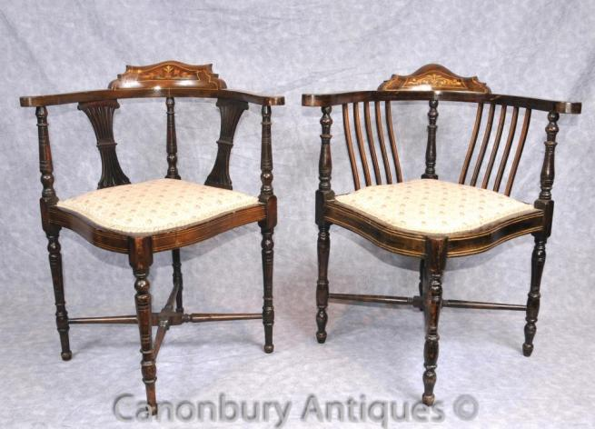 Pair Antique Victorian Corner Chairs Arm Chairs English
