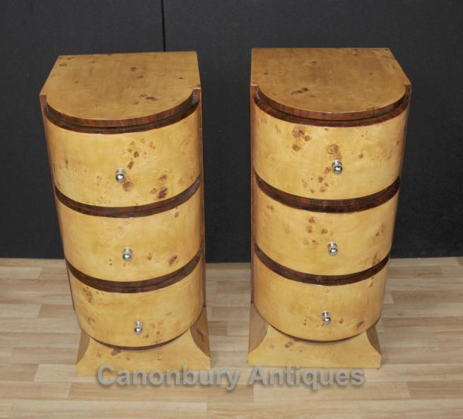Pair Art Deco Bedside Chests Cabinets Tables Nightstands