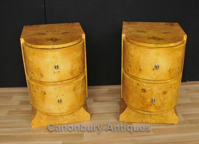 Pair Art Deco Beside Chests Nightstands Blonde Walnut Furniture