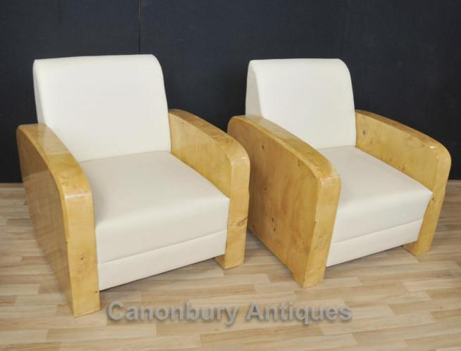 Pair Art Deco Club Chairs Arm Chair Sofa