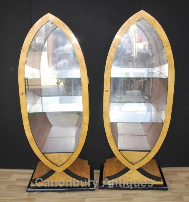 Pair Art Deco Glass Display Cabinets Blonde Walnut