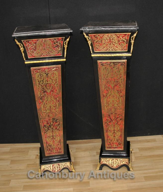 Pair Boulle Pedestal Stands Columns Supports Louis XV Buhl Inlay