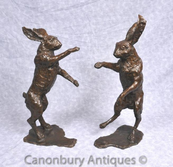 Pair Bronze Dancing Hare Statues English Hare Rabbit