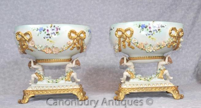 Pair Dresden Porcelain Cherub Comports Bowls Tureens Encrusted