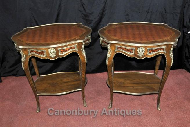 Pair French Empire Cocktail Tables Side Table Parquetry Inlay