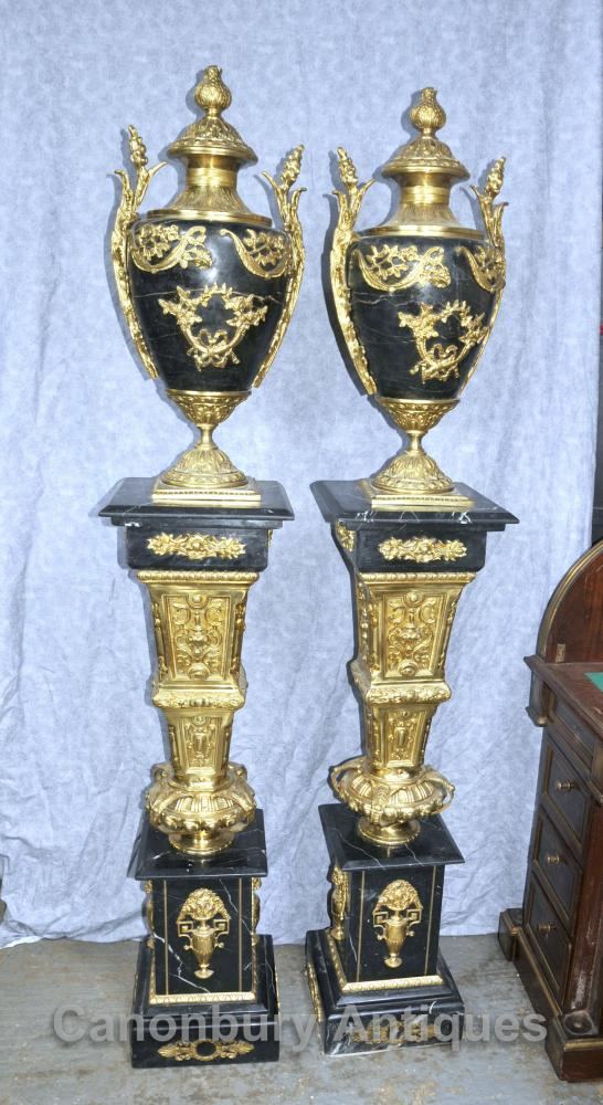 Pair French Empire Marble Amphora Urns on Pedestal Stands