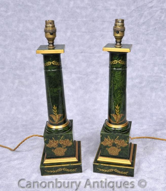 Pair French Empire Porcelain Table Lamps Doric Column Temple Light