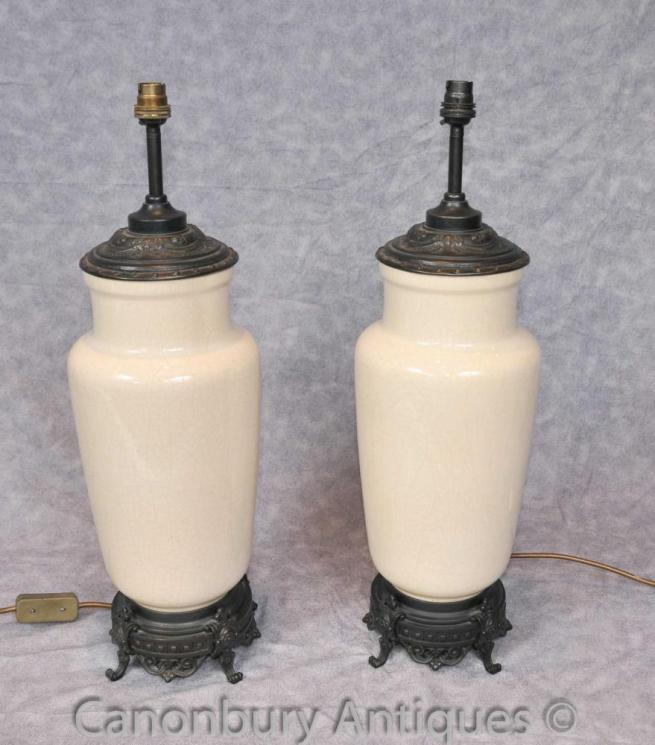 Pair French Empire Porcelain Table Lamps Light Bases