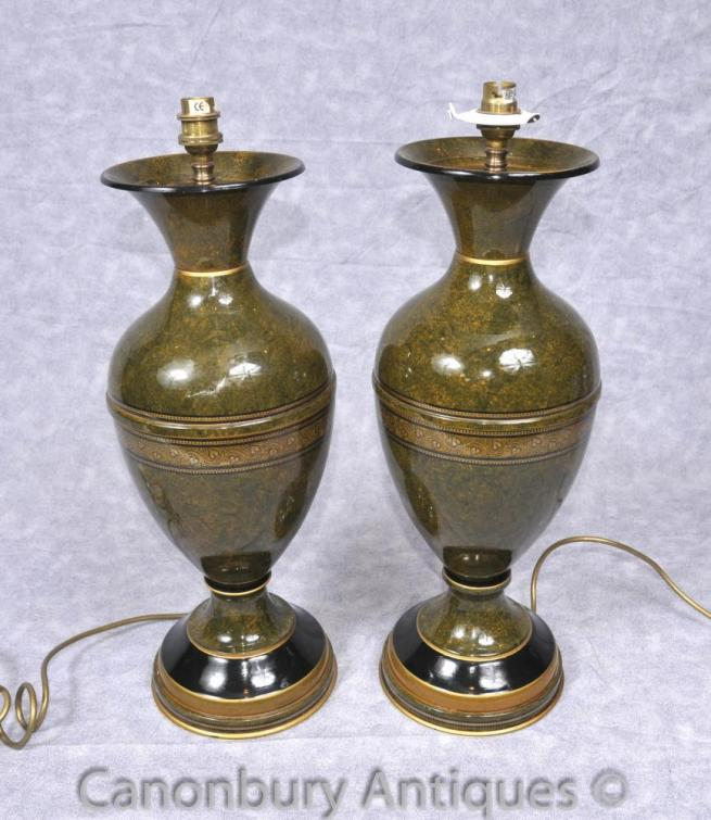 Pair French Empire Porcelain Table Lamps Lights Amphora Urn