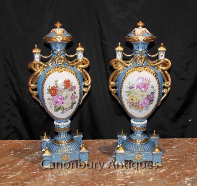 Pair French Sevres Porcelain Floral Amphora Urns Vases