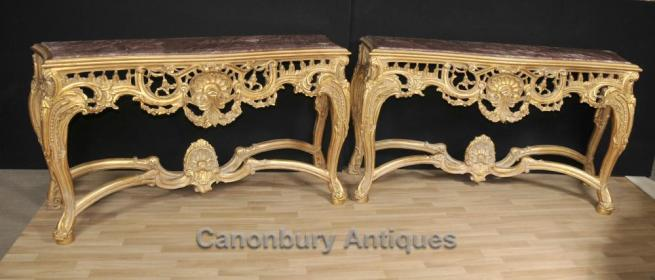 Pair George II Gilt Console Tables Marble Tops Hand Carved Rococo
